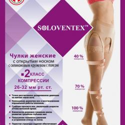 Чулки женские с открытым носком с силиконовым кружевом с поясом 2 класс компрессии 26-32 мм рт.ст.(230 DEN)